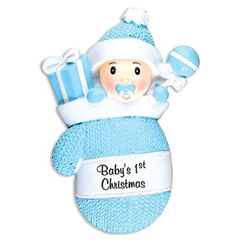 PERSONALIZED CHRISTMAS ORNAMENTS BABY'S FIRST-BABY BOY IN MITTEN