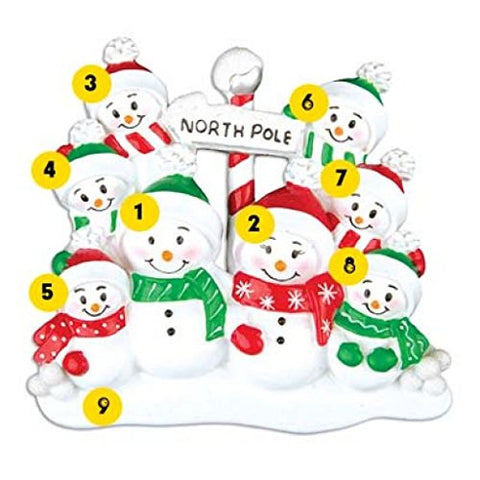 North Pole Family of 8 Personalized Christmas Ornament Or967-8