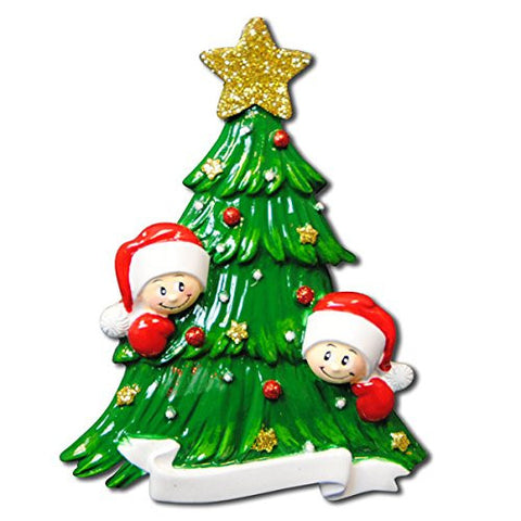 Christmas Tree with Faces Family of 2 Ornament