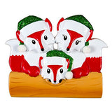 Fox Family Of 3 Personalized Christmas Tree Ornament