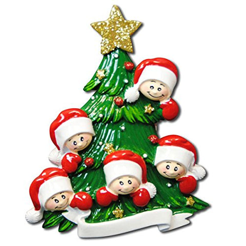 Family of Five with Christmas Tree Hand Personalized Christmas Ornament