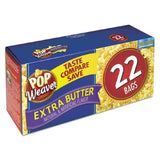 Pop Weaver - Microwave Popcorn, Extra Butter, 2.5oz Bag, 22/Box