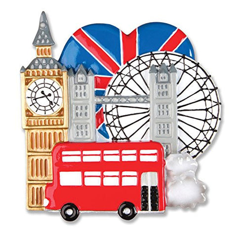 London, England Personalized Christmas Tree Ornament