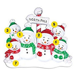 North Pole Family of 6 Personalized Christmas Ornament