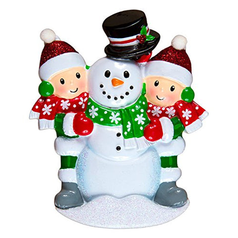 Family Building Snowman Of 2 Personalized Christmas Tree Ornament
