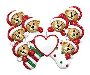 8 Bears Clinging To Stocking Personalized Christmas Tree Ornament