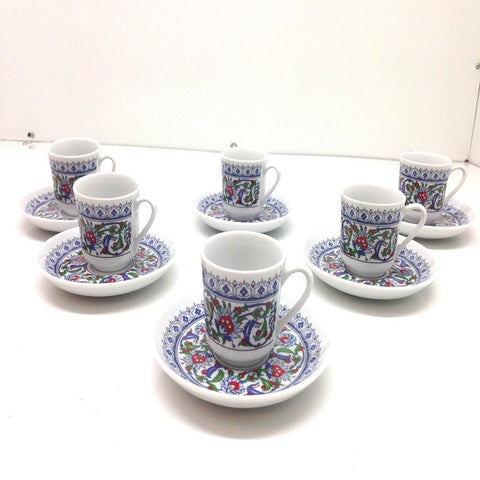 Turkish Coffee, Espresso Set of 6, Porcelain, Coffee Set, Floral, Stylish