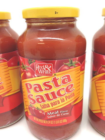 Red & White Pasta Sauce Meat Flavor, 4 Pack
