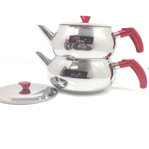 STAINLESS STEEL FAMILY SIZE ZEN LIFE TURKISH TEAPOT KETTLE SET