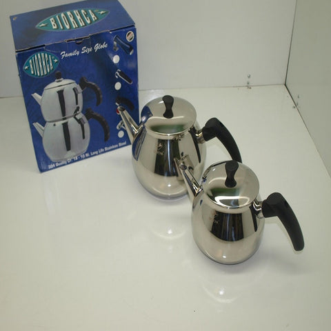 STAINLESS STEEL BIORHCA ROUND TURKISH TEAPOT SET - FAMILY SIZE