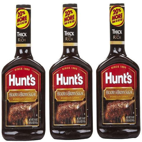 Hunt's, Hickory & Brown Sugar Barbecue Sauce, 17oz Bottle (Pack of 3)