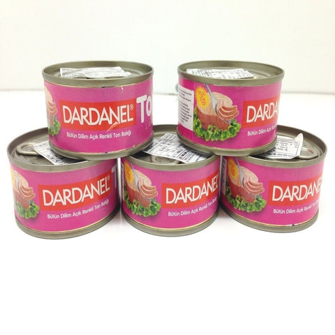 Canned Light Tuna in Brine, Dardanel Ton Light, 5 Canned of Tuna, Turkish