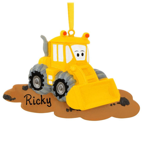 Bulldozer Personalized Christmas Tree Ornament