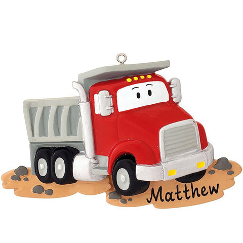 Dumptruck Personalized Christmas Tree Ornament