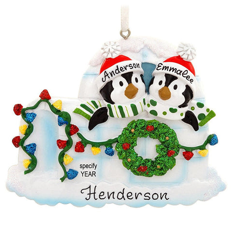 Personalized Igloo With Penguin Couple Ornament