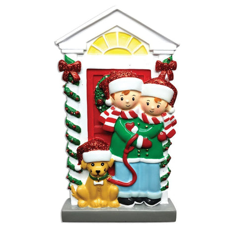 Couple with Dog Personalized Christmas Tree Ornament