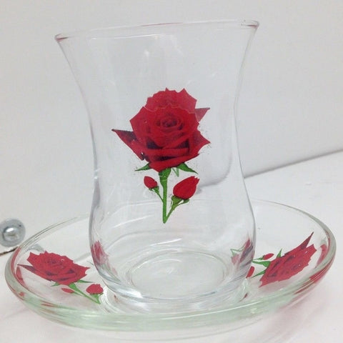 Emir Glass Rose Design Glass Tea Set 6 Glass 6 Plate