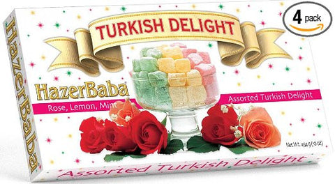 Hazer Baba Mixed Turkish Delight, Lemon Rose Menthe, 16-Ounce Boxes (Pack of 4)