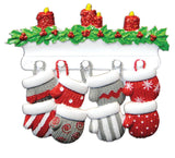 Mitten Family of 8 Personalized Tree Ornament