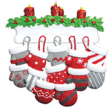Mitten Family of 12 Personalized Tree Ornament