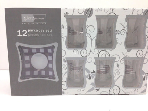 12 Pieces Adorable Turkish Tea Set!!Tea Glass,Saucers,Sweet Macaron Milkshake PR