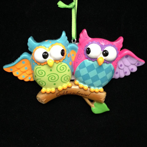 Owl Couple Personalized Tree Ornament