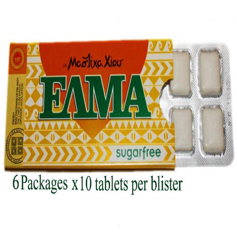 Greek Mastic Chewing Gum Elma Sugar Free (6pcs X 10 Tablets)