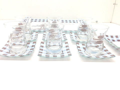 14 Pieces Fancy Turkish Tea Set!! Tea Glasses,Saucers,Tray,Sugar Bowl