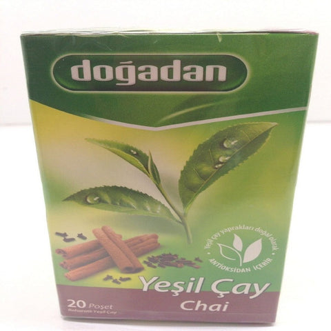 Dogadan Green Tea Chai with Spices, 3 Pack (Each 20 Tea Bags x 3)