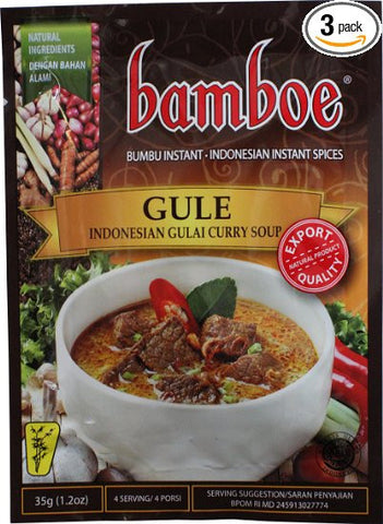 Bamboe Bumbu Instant Gule - Indonesian Gulai Curry soup , 35 Gram (Pack of 3)