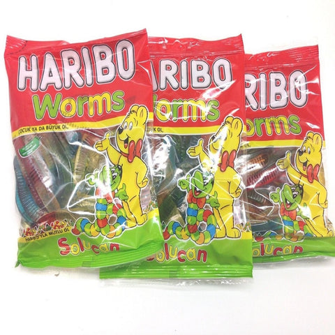 Haribo Gummi Candy, Worms, 160g x 3, Halal, 3 Packs, Solucan