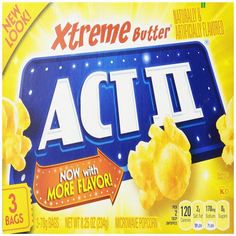Act II Popcorn Extreme Butter, 3 Count Box (Pack of 12)