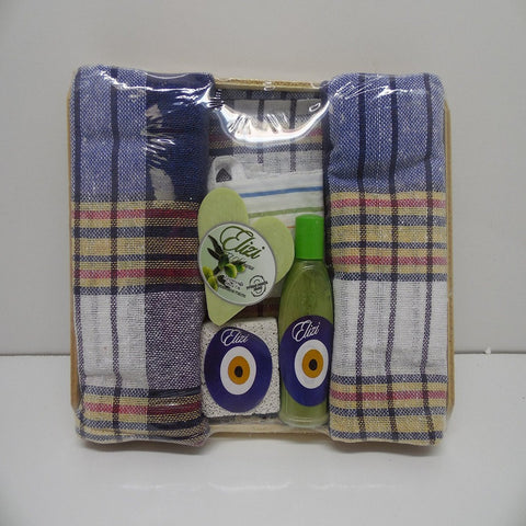 Elizi Turkish Towel Turkish Bath Set Soap Heel Stone Peshtemal and Fiber Bath