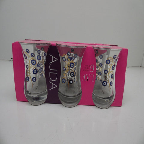 Gurallar Ajda Evil Eye Design Turkish Tea Set, Set of 6