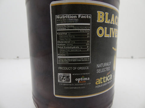 Attica Naturally Selected Black Olives Net 3Lb 8.79Oz/Drained 2Lb 3.27oz