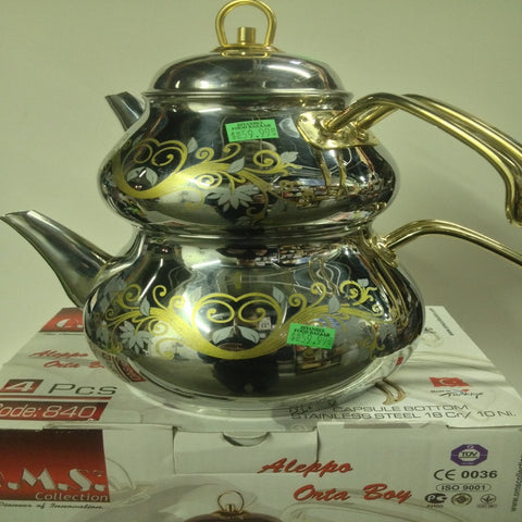 Oms Collection 18/10 Stainless Stell Tea Pot Set