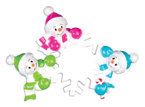 Falling Snowmen Family of 3 Personalized Ornament