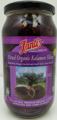 Fantis Pitted Organic Kalamon Olives 33.8 Oz (958 Gr)