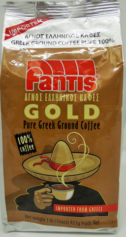 Fantis Greek Ground Pure Coffee 100 % 1 Lb