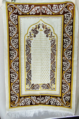 International Goods Depot Muslim Pray Rug Namaz Sajadah Mat Series (Ivy Brown and Gold 45
