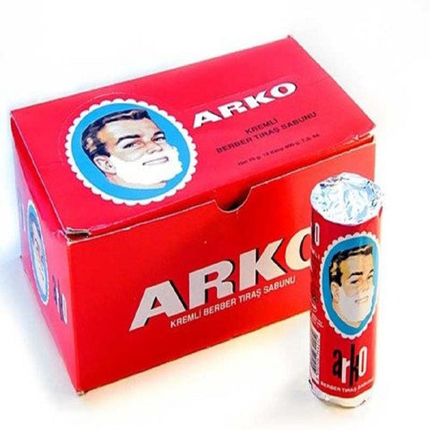 Arko Shaving Soap Stick, White, 12 Count