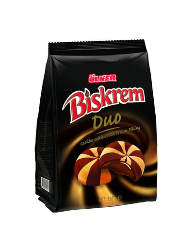 Ulker Biskrem Duo Kakao Kremali Biskuvi - Cookies With Cocoa Cream Filling 150 Gr ( 5.2 Oz )