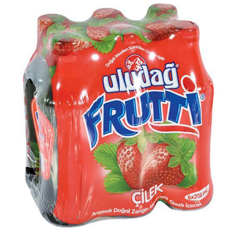 Uludag Frutti Maden Suyu Cilekli - Frutti Strawberry Mineral Water 6 Pack 200 Ml ( 6.7 Oz )
