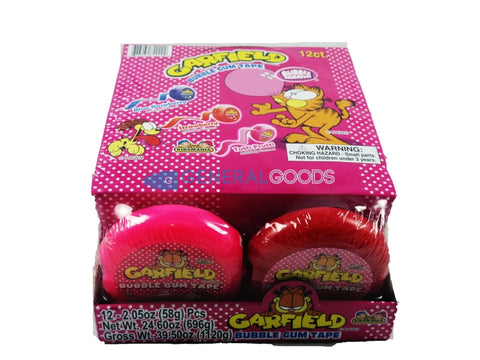 Kidsmania Garfield Bubble Gum Tape Three Assorted Flavors 12 Count