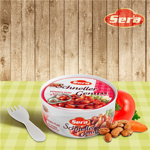 Sera Barbunya Pilaki / Cooked Red (Pinto) Beans in Sauce (Ready Food) - 320 gr