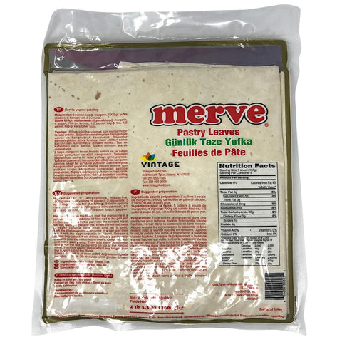 Merve Kare Yufka - Pastry Square Leaves 6 Sheets 1 KG ( 2.2 LBS )