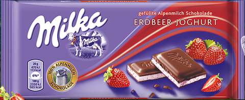Milka Cilekli Yogurtlu Cikolata - Milk Strawberry Yoghurt Chocolate 100 Gr ( 3.5 Oz )