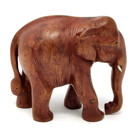 Sahya Dale Wooden Elephant Statue- Hand Made Rose Wood 16 x 13cm