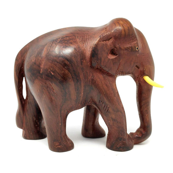 Sahya Dale Wooden Elephant Statue- Hand Made - Made from Rose Wood 24 x 18cm