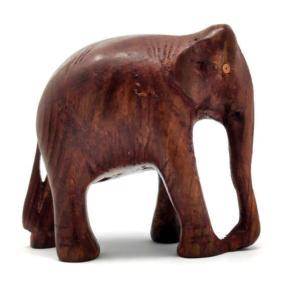Sahya Dale Wooden Elephant Statue- Hand Made Rose Wood 9 x 9cm